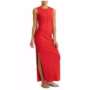 Athleta Red Ribbed Henley Maxi Dress Side Slit SP